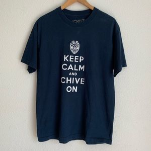 Navy Keep Calm Chive On crew neck tee
